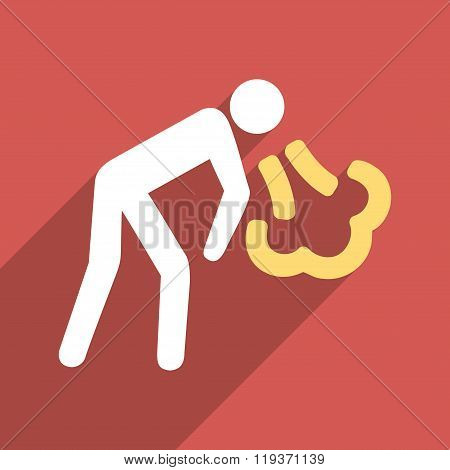 Vomiting Person Flat Longshadow Square Icon