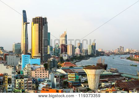 HO CHI MINH (SAIGON), VIETNAM - CIRCA JAN, 2016: Top view of Ho Chi Minh City. Ho Chi Minh, former Saigon, is located in the South of Vietnam, is the country's largest city, population 8 million.