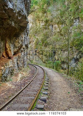 Narrow Gauge Railroad In Mountains Of North Caucasus.