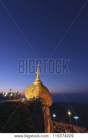 Golden Rock, Kyaikhtiyo Or Kyaiktiyo Pagoda In Early Morning Time Crowded With Unidentified Tourists