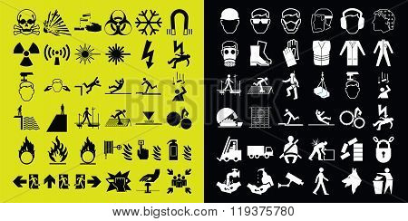 Construction and hazard warning icon collection