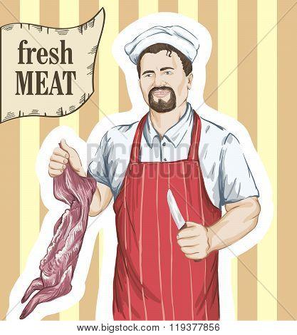 butcher cut up carcass of the rabbit