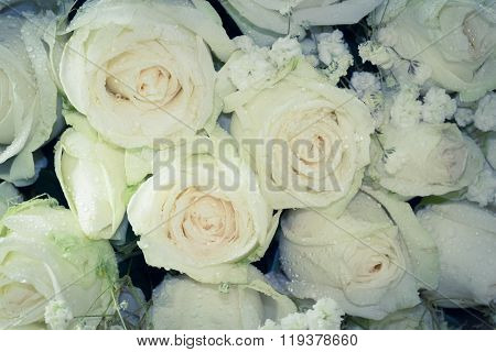 Close Up Of Bouquet Of Fresh Roses, selective Focus, vintage Toning