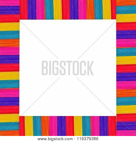 Abtract Background From Multi-colored Wooden Ice Cream And White Space For Writting