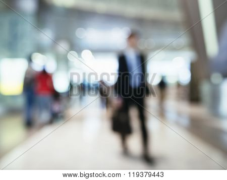 Blur Businessman Walking In Station Business Travel Concept