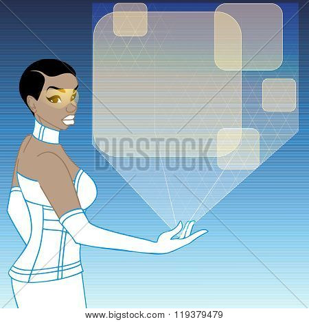futuristic woman with orange holographic display