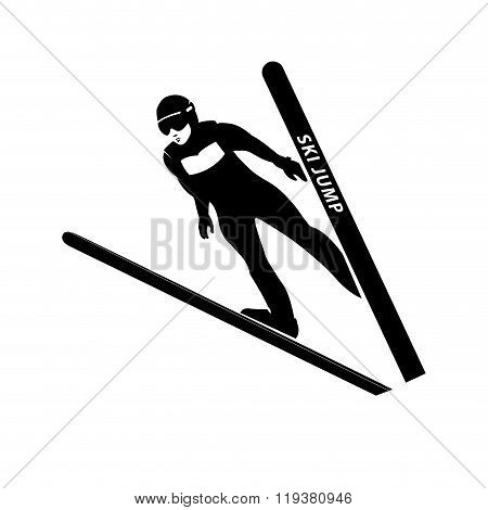 Jumping skier silhouette. Vector illustration.