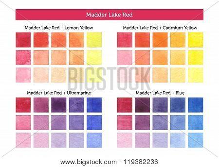 Madder Lake Red - Watercolor Mixing Chart