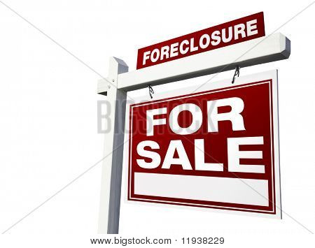 Foreclosure For Sale Real Estate Sign Isolated on a White Background.