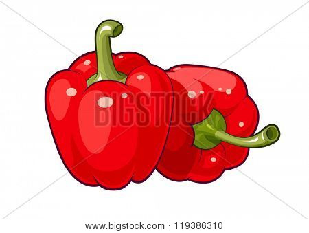 Red bell peppers vector illustration. Isolated white background. Transparent objects used for lights and shadows drawing