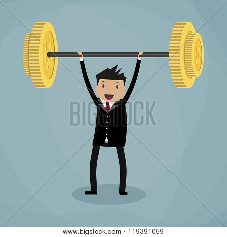 Business executive power lifting