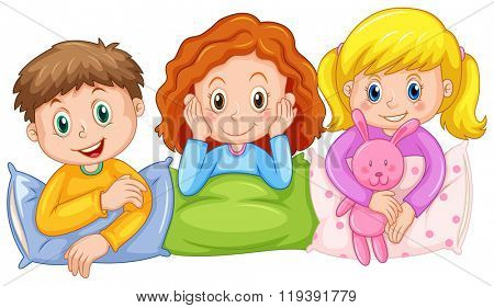 Children happy at slumber party illustration