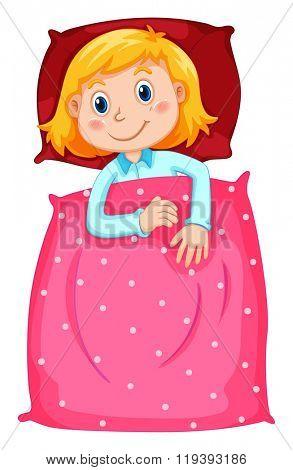 Cute girl under polkadots blanket illustration