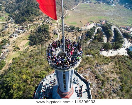 Tourist visit Lung Cu flag tower in Hagiang, Vietnam.