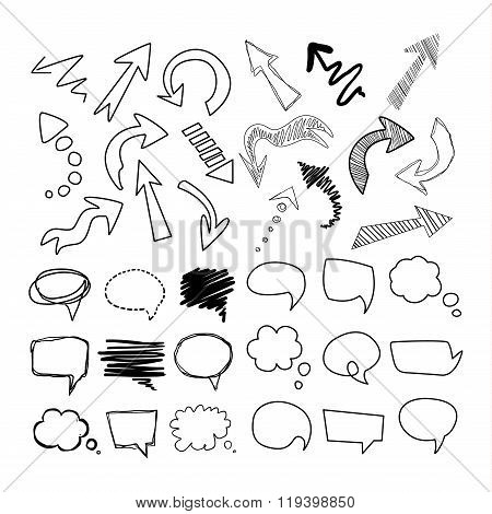 Speech Bubbles and Arrows. Handdrawn Vector Set