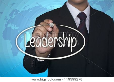 Concept image handwriting marker and write Leadership over light blue background with world map