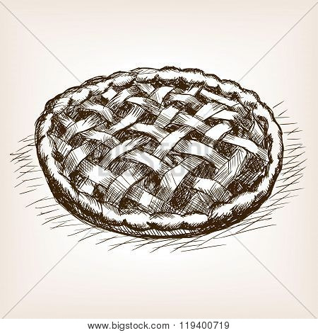 Pie sketch style vector illustration. Old engraving imitation. Sweet pie hand drawn sketch imitation
