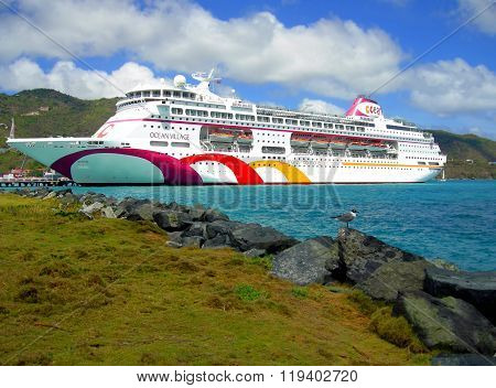 Ocean Village cruise ship in Tortola harbor