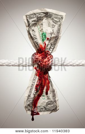 Wrinkled American Dollar Tied Up and Bleeding in Rope.