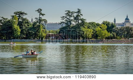 Family in a rowboat