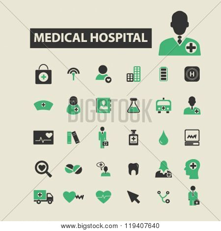 hospital icons, hospital logo, hospital vector, hospital flat illustration concept, hospital infographics, hospital symbols,