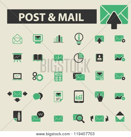post mail icons, post mail logo, post mail vector, post mail flat illustration concept, post mail infographics, post mail symbols,