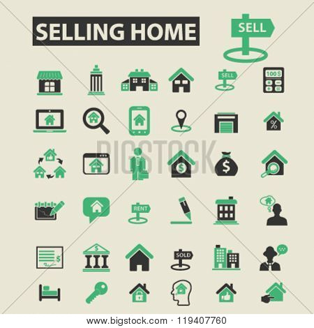 selling home icons, selling home logo, selling home vector, selling home flat illustration concept, selling home infographics, selling home symbols,