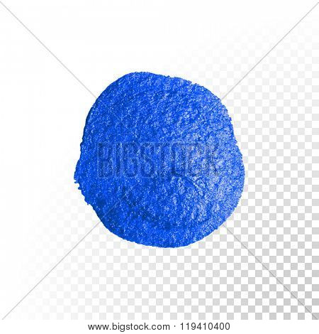 Deep blue watercolor paint brush blob stroke circle . Abstract circle shape. Vector oil paint blot smear on white background