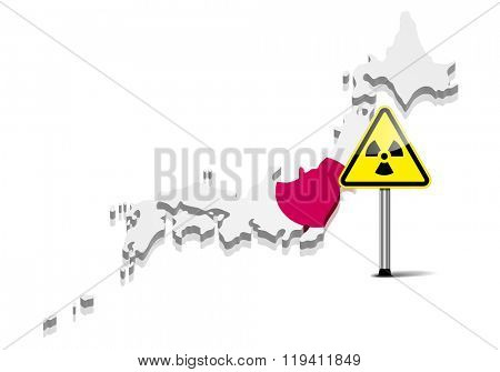detailed illustration of a map of Japan with radiation warning sign, eps10 vector