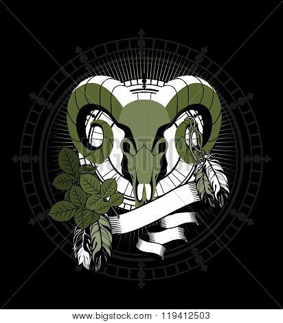 portrait of a ram's skull with horns zodiac sign for horoscope and astrological predestination
