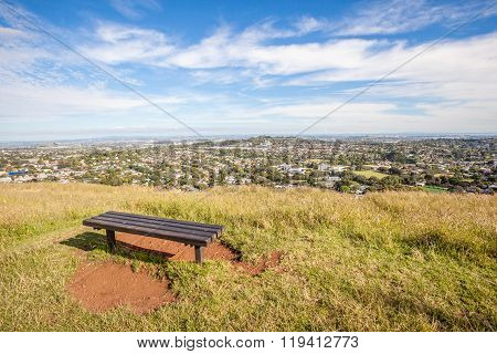 Bench Seat From Top Of Mount Eden For Looking Over Auckland's City View.