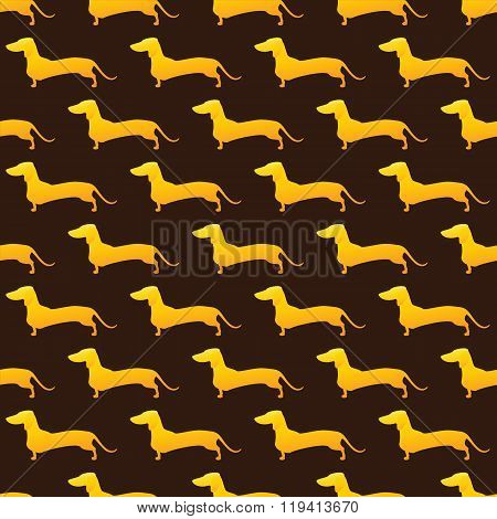 Pattern With Golden Dachshund