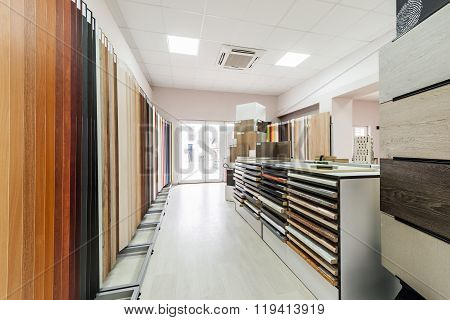 Showroom for chipboard panels for interiors design
