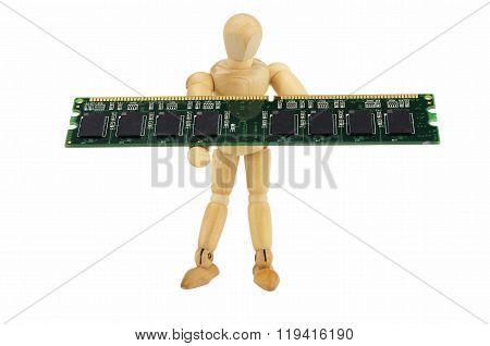 Wooden Puppet Carries A Computer Memory Module