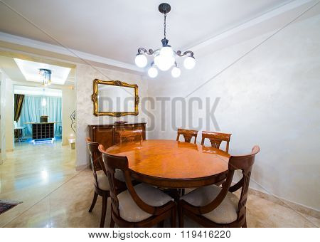 Dining room in modern and luxury home