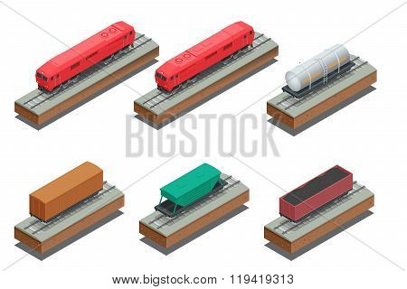 Vector isometric illustration of Diesel Locomotive, Rail covered wagon, Open rail car for transporta