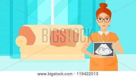 Pregnant woman with ultrasound image. poster