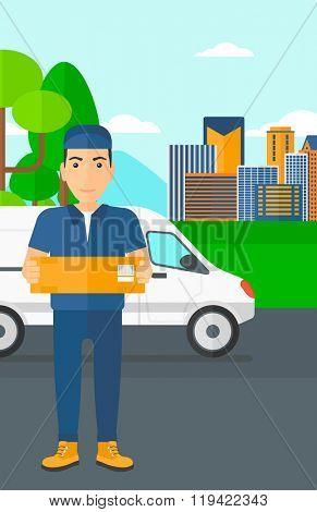 Man delivering box. poster