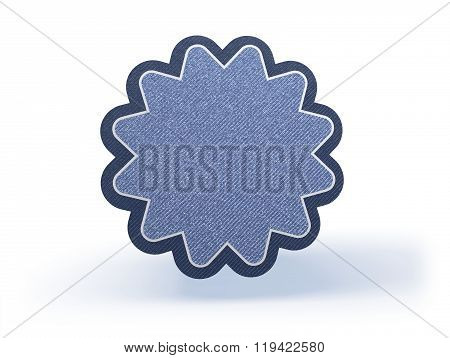 Star Badge Shopping Icon In Blueish Denim Look