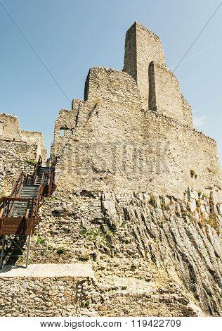 Ruins Of Beckov Castle, Slovak Republic, Travel Destination, Vertical Composition