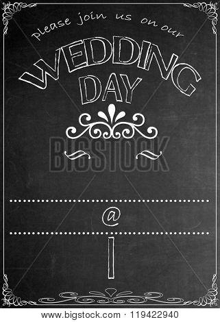 Chalkboard Wedding Day Party Invitation Blackboard Wedding Day Party Celebration Invitation