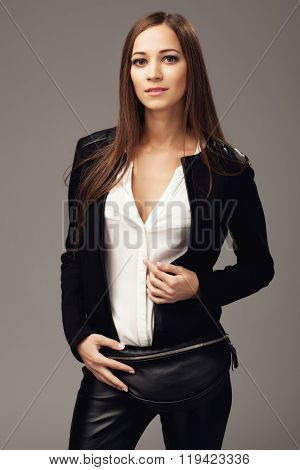 Beautiful Woman With A Black Leather Fanny Pack