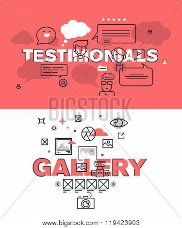 Set of modern vector illustration concepts of words testimonials and gallery