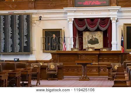 Austin, Tx/usa - Circa February 2016: House Of Representatives Chamber In Texas State Capitol In Aus