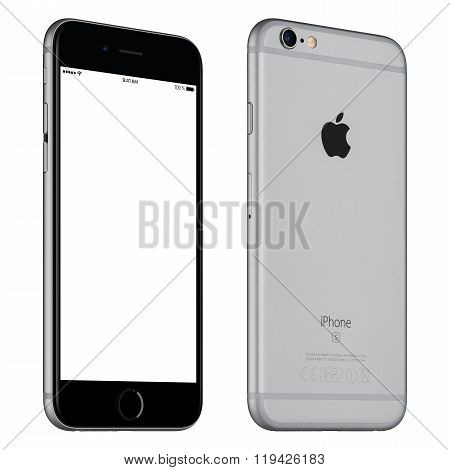Space Gray Apple Iphone 6S Mockup Slightly Rotated Front View With White Screen And Back Side