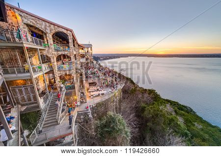Austin, Tx/usa - Circa February 2016: Sunset Above Lake Travis From The Oasis Restaurant In Austin,