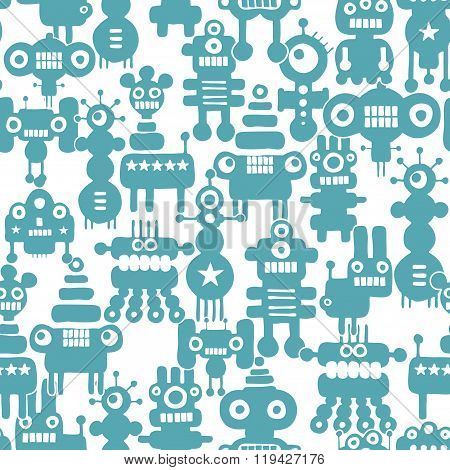 Seamless pattern with cute monsters and robots.