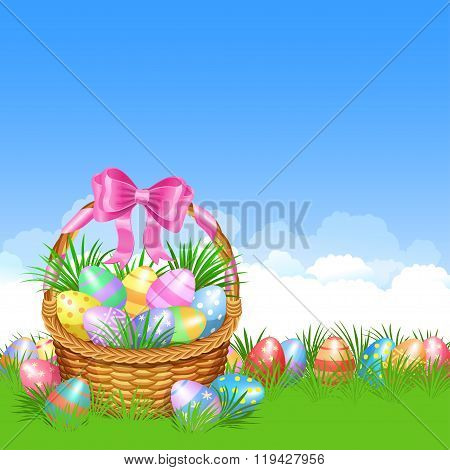 Easter Basket And Colorful Easter Eggs In Green Grass For Easter Holidays Design. Easter Vector