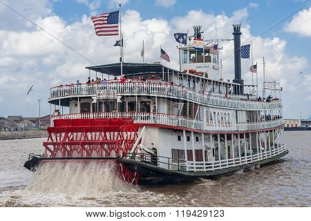 New Orleans, La/usa - Circa March 2009: Steamboat Natchez Carrying Tourists On Mississippi River In