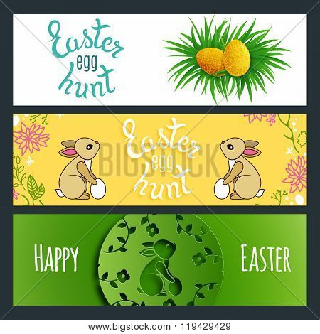 Easter Banners with Rabbits and Eggs